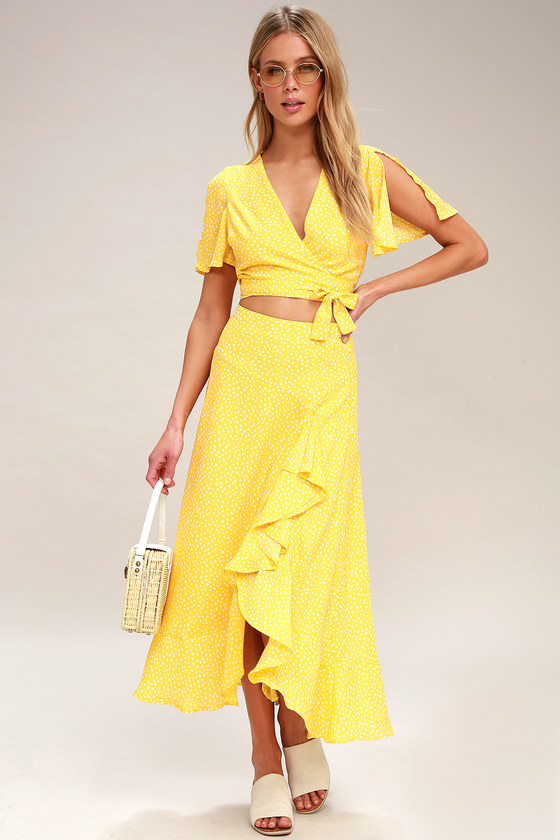 680f478cc Cute Yellow Two-Piece Dress - Polka Dot Dress - Maxi Dress