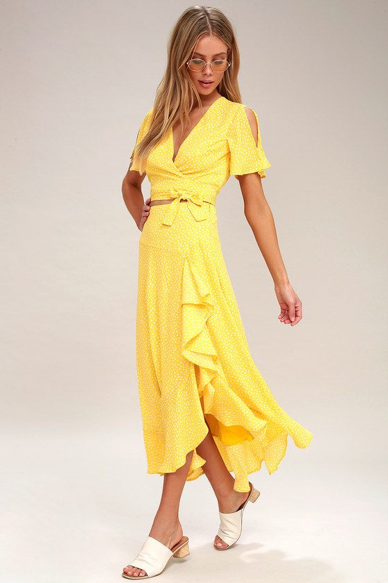 8bbdcbfcac9e Cute Yellow Two-Piece Dress - Polka Dot Dress - Maxi Dress