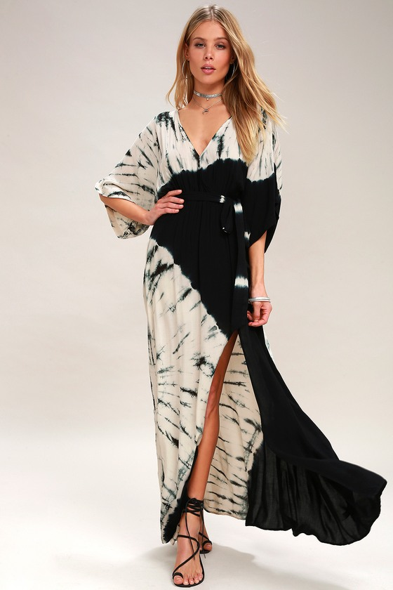 Cute Tie Dye Dress Maxi Dress Black And Cream Dress