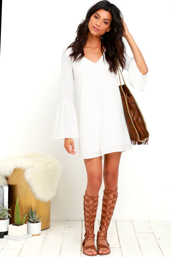 63805f7aad1 Bell Sleeve Dress - Shift Dress - Ivory Dress - White Dress