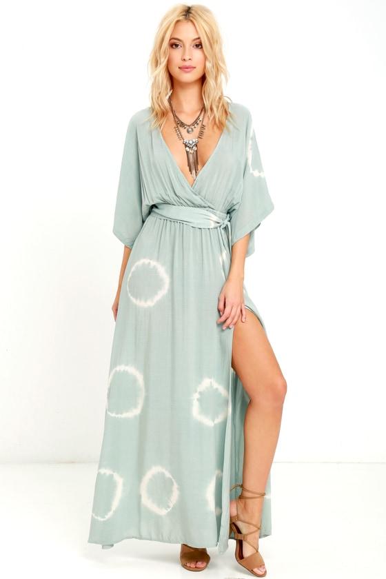 ffcd60f4c8a Sage Green Dress - Tie-Dye Dress - Maxi Dress - Wrap Dress