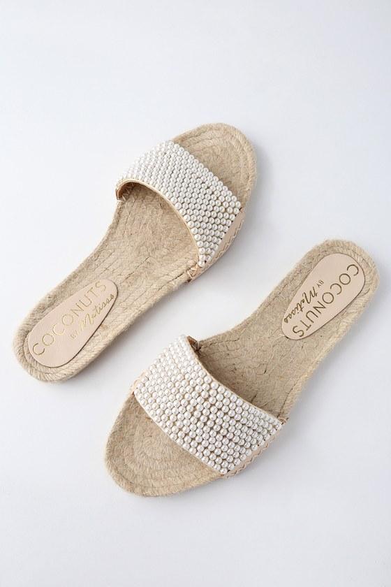 Lulus Kimay Natural Espadrille Pearl Slide Sandal Heels - Lulus V1K74qtY