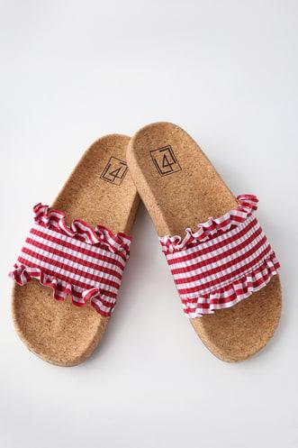 cb9e53f6c120c Alexa Red Gingham Slide Sandals