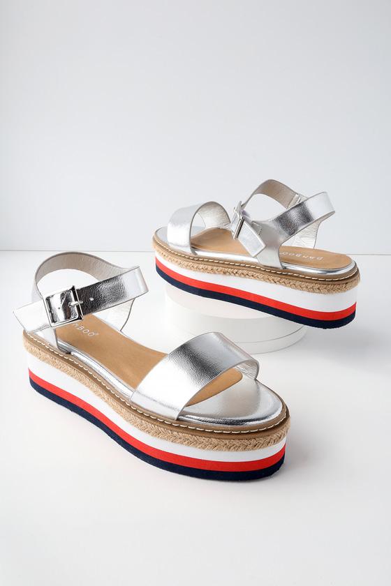 Cute Silver Metallic Sandals - Flatform