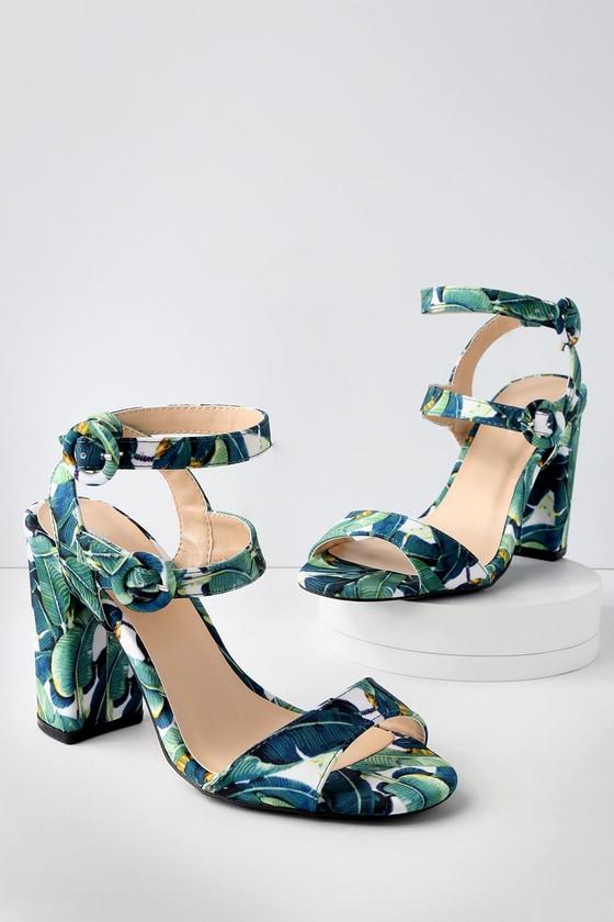 Lulus Jadey Multi Pineapple Print Ankle Strap Heels - Lulus BoUY27BA
