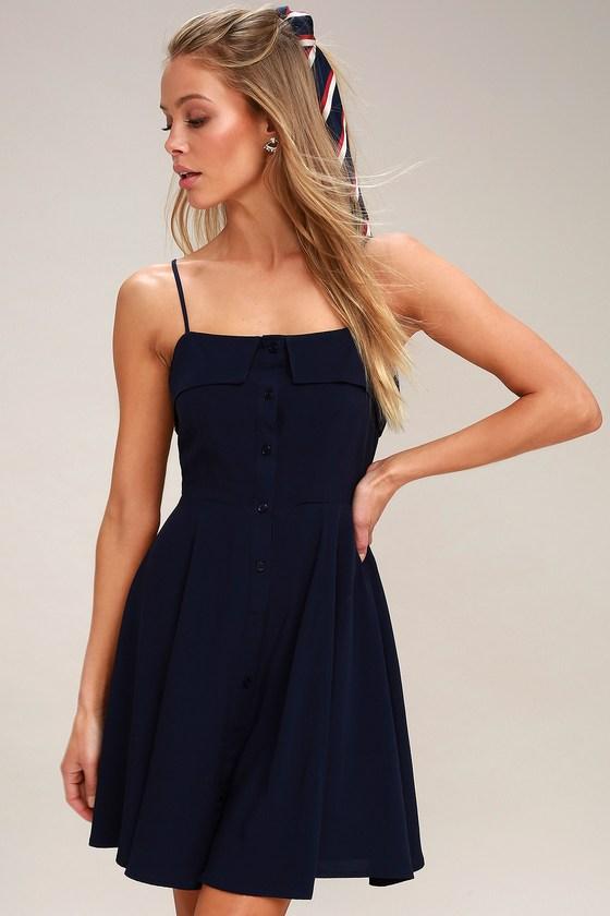 82711a6c8bd68 Cute Navy Blue Skater Dress - Button-Front Skater Dress