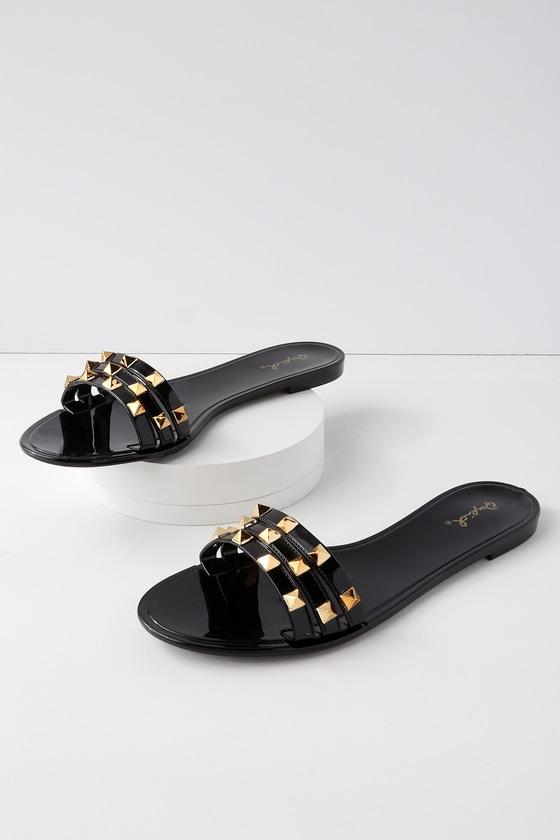 dfda581e11af Cool Jelly Sandals - Black Slides - Studded Slide Sandals