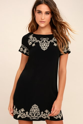 ca3e40de3efa Tale to Tell Beige and Black Embroidered Shift Dress