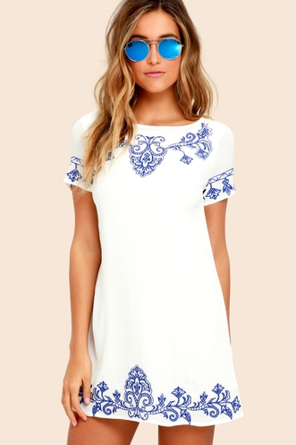 1e0a44d71c Tale to Tell Blue and Ivory Embroidered Shift Dress