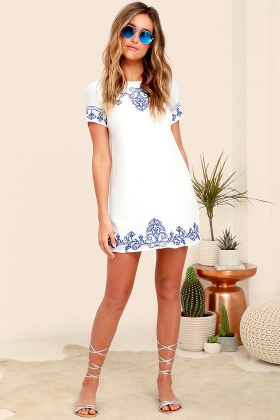 605c7d400a Cute Blue and Ivory Dress - Embroidered Dress - Shift Dress