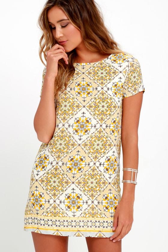 Dandy Lion Yellow Print Shift Dress by Lulus