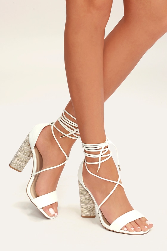54a5284fe74 Cute White Heels - Lace-Up Heels - Block Heels