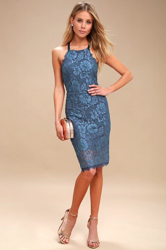 d26cc24d17e7 Blue Lace Dress - Lace Bodycon Dress - Blue Dress -  66.00