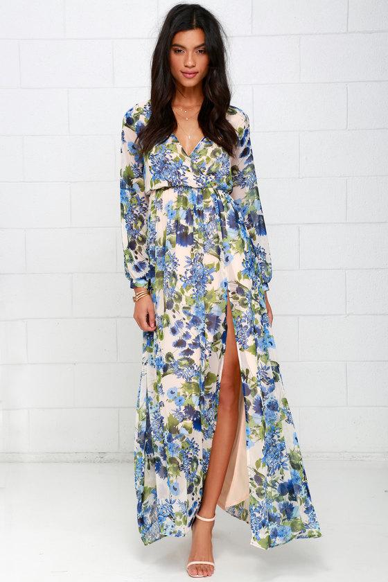 4940292b9d4 Lovely Blue Floral Print Dress - Maxi Dress - Long Sleeve Dress - $78.00