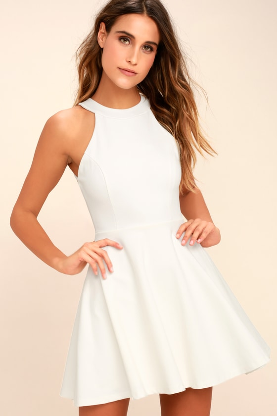 066e6b8f58 Cute Skater Dress - Ivory Dress - Backless Dress