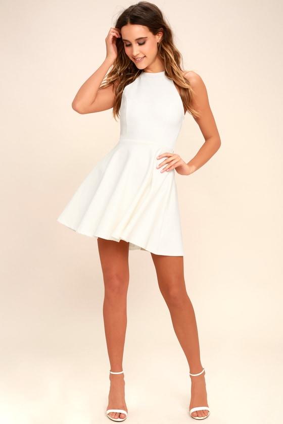 847e293bdc Cute Skater Dress - Ivory Dress - Backless Dress