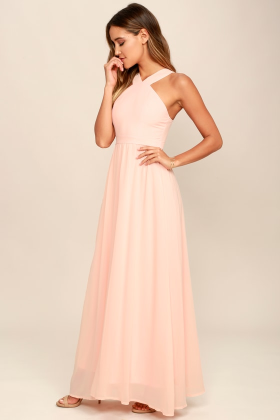 f9cf2c7ac0 Beautiful Peach Dress - Maxi Dress - Halter Dress