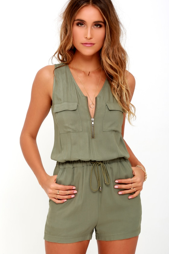 dd79b29bd04 Fun Olive Green Romper - Sleeveless Romper