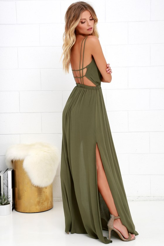7eed1d42847d1 Lost in Paradise Olive Green Maxi Dress
