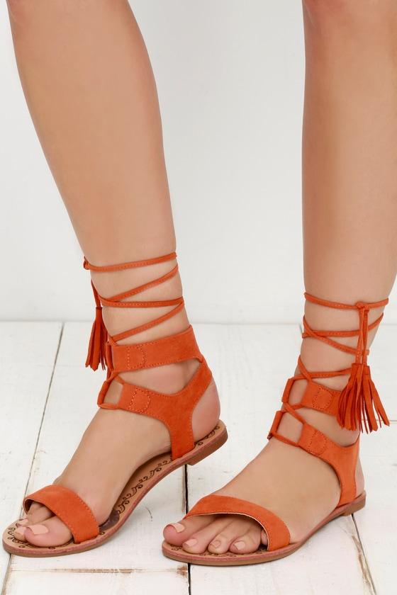 76bc25ce835504 Cute Orange Sandals - Flat Sandals - Lace-Up Sandals - Boho Shoes -  20.00