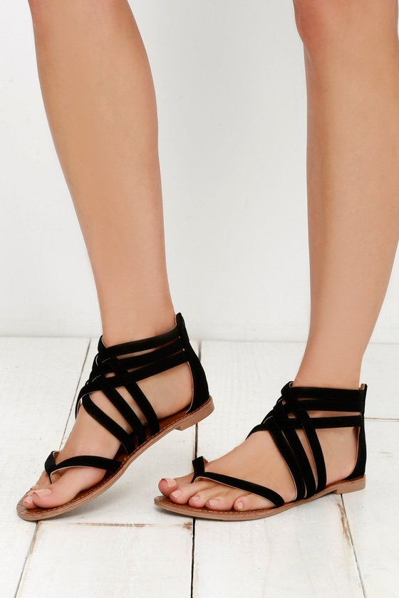 7bb8f30f3 Cute Black Sandals - Flat Sandals - Thong Sandals -  20.00