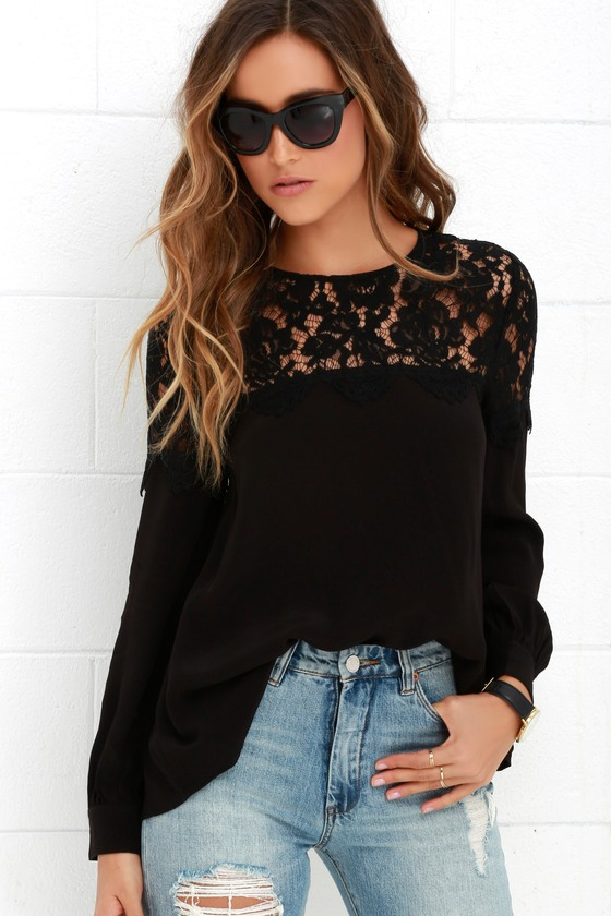 Lace Top Black Blouse Long Sleeve Top Black Top