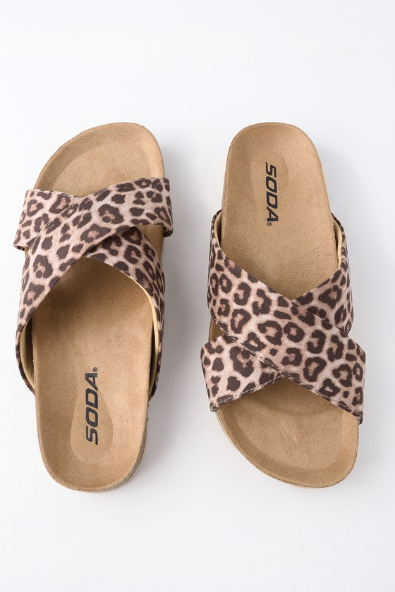 Lotus Tigerlily Tan Leather And Leopard Print Open Toe Flat Sandal