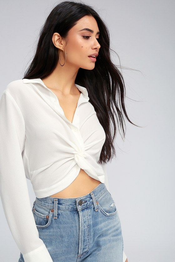 33ff67a779f6 Chic White Top - Button-Up Crop Top - Long Sleeve Top