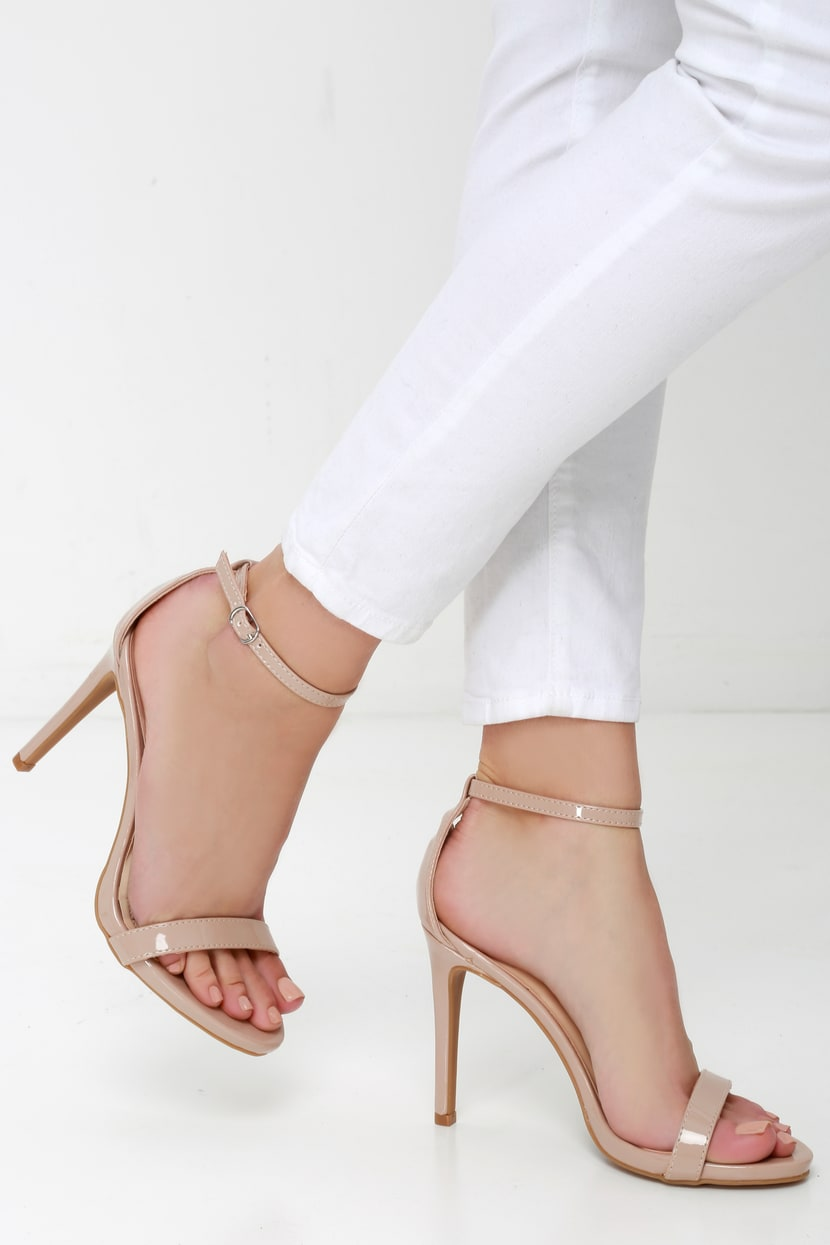 Nude High Heels With Ankle Strap