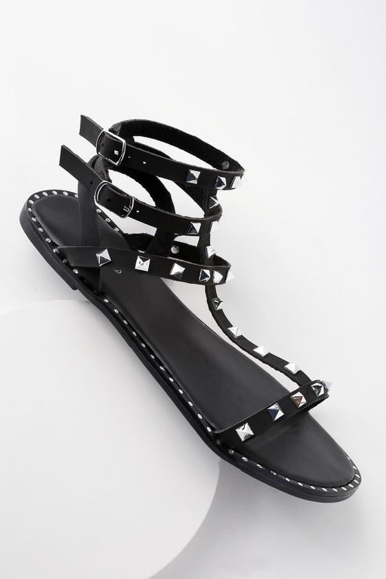 Cool Black Sandals Studded Sandals Gladiator Sandals