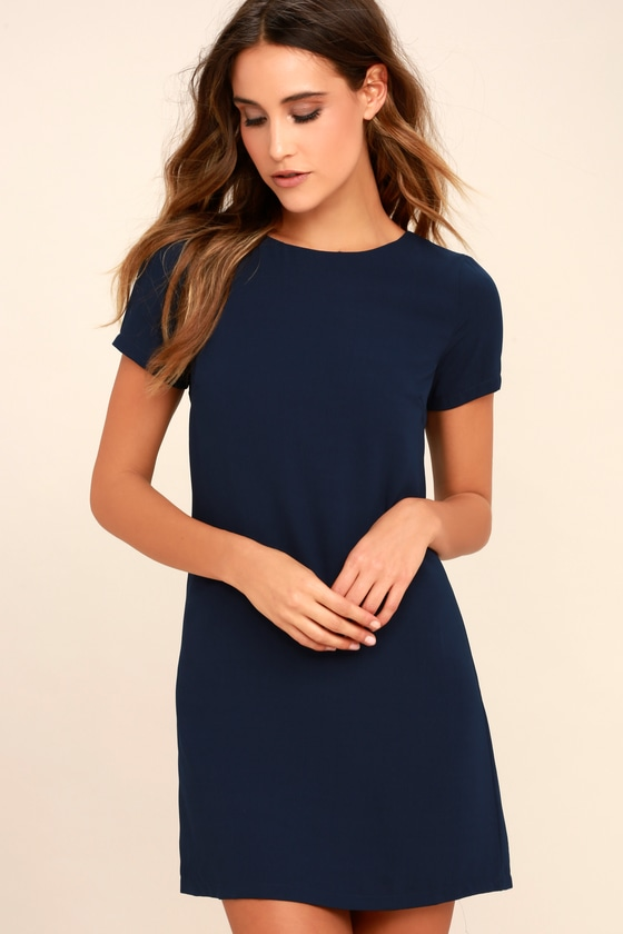 edddd73b0f7c Chic Navy Blue Dress - Shift Dress - Short Sleeve Dress