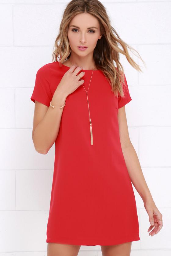 4a69b28634 Chic Red Dress - Shift Dress - Short Sleeve Dress