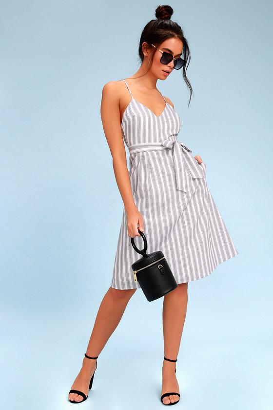 63f7e311c0fa Black and White Striped Dress - Sleeveless Midi Dress