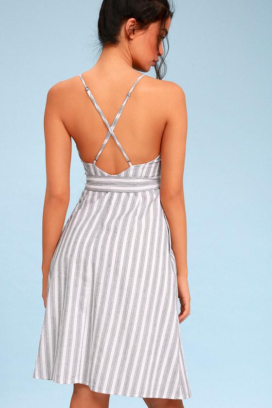 4c68ad681bc2 Black and White Striped Dress - Sleeveless Midi Dress