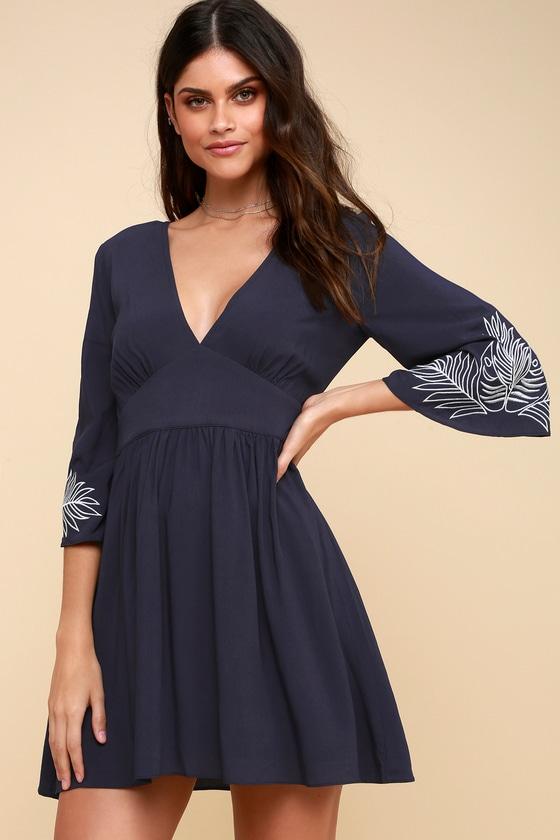 b38082606 Navy Blue Dress - Embroidered Dress - Bell Sleeve Dress