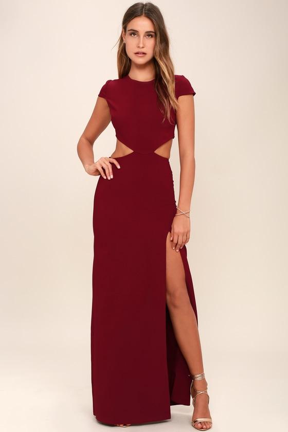 20134218d43 Sexy Wine Red Dress - Maxi Dress - Cutout Dress - Backless Dress -  74.00