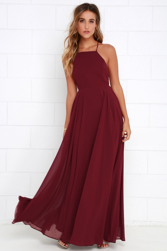 c51f6133230 Beautiful Wine Red Dress - Maxi Dress - Backless Maxi Dress