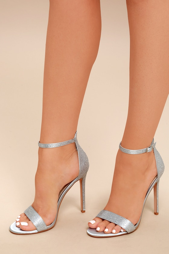 entire collection details for on feet images of Chic Silver Heels - Satin Heels - Rhinestone Heels