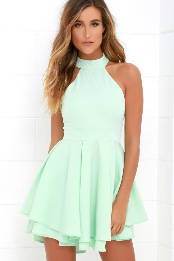 Cute Mint Green Dress - Skater Dress - Backless Dress