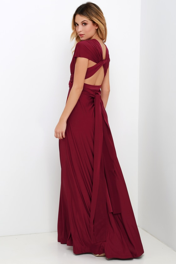 69257795fd7 Convertible Dress - Burgundy Maxi Dress - Infinity Dress