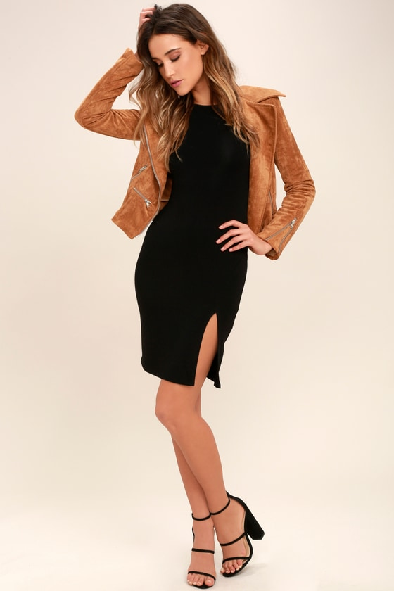 5e9bde1e70b4 Sexy Black Dress - Long Sleeve Dress - Midi Dress - $34.00