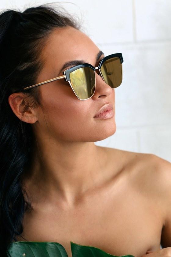 Sunshine and Dine Black and Gold Wayfarer Sunglasses