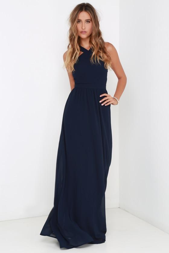 Beautiful navy blue dress maxi dress homecoming dress for Navy maxi dresses for weddings
