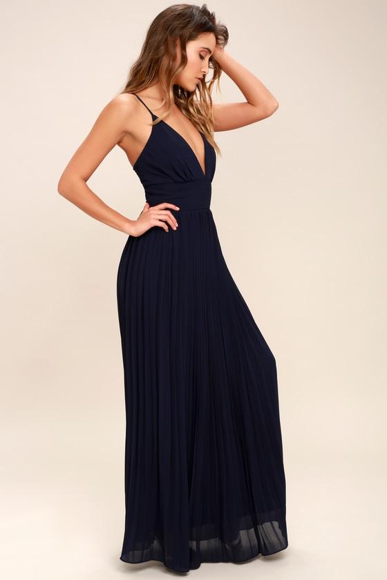 ee73fcf7d50 Stunning Navy Blue Dress - Pleated Maxi Dress - Blue Gown