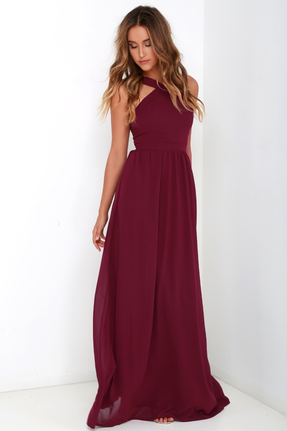 de1bc8fb2074 Beautiful Burgundy Dress - Maxi Dress - Halter Dress