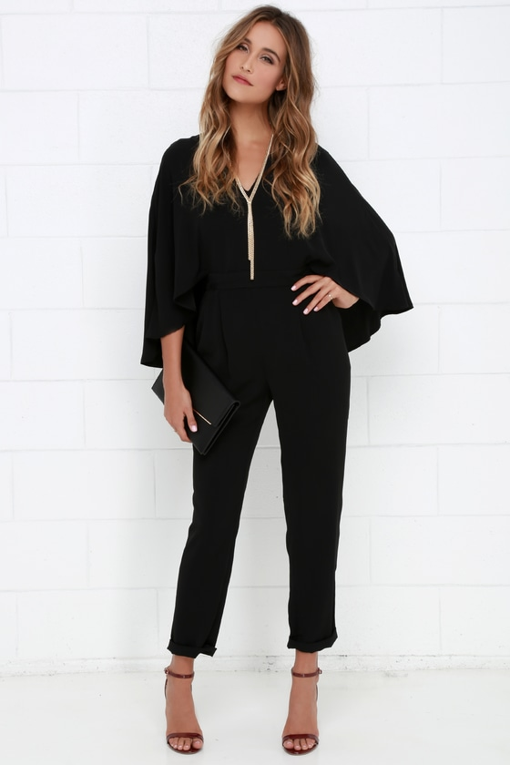 920b5ebcb71 Black Jumpsuit - Cape Jumpsuit - Chic Jumpsuit -  84.00