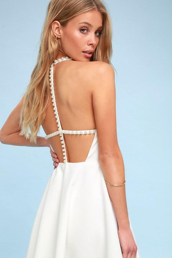 Stunning Skater Dress - White Skater Dress -Faux Pearl Dress 770c8893f