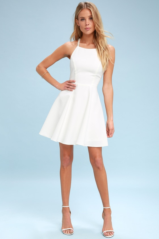 c4ce508408 Stunning Skater Dress - White Skater Dress -Faux Pearl Dress