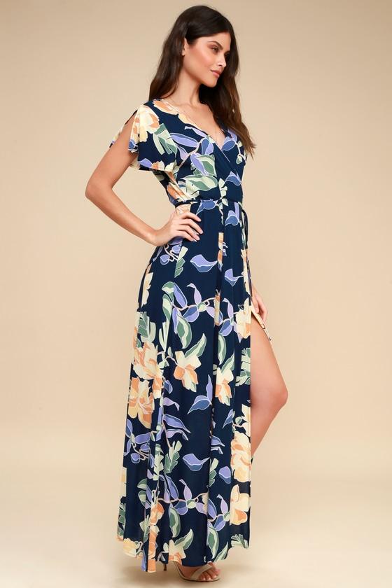b8b205cbf6 Tropical Print Dress - Wrap Dress - Navy Blue Maxi Dress