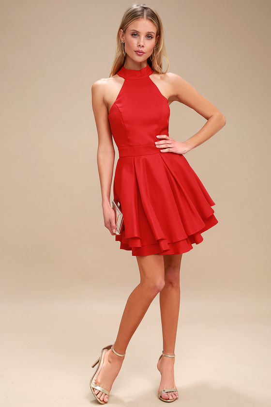 8b28cfc386 Cute Red Skater Dress - Red Homecoming Dress - Red Dress